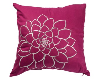 purple throw pillow cover dark purple linen silver gray flower embroidery purple pillow accent
