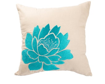 Blue Flower Pillow Cover, Decorative Pillow Cover, Embroidered Pillow, Brown Beige Linen Blue Floral Pillow, Couch Pillow, Accent pillow