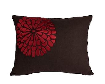 Floral Lumbar Pillow Cover, Decorative Pillow, Dark Brown Linen Red Flower Embroidery, Floral Couch Pillow, Modern, Long lumbar pillow