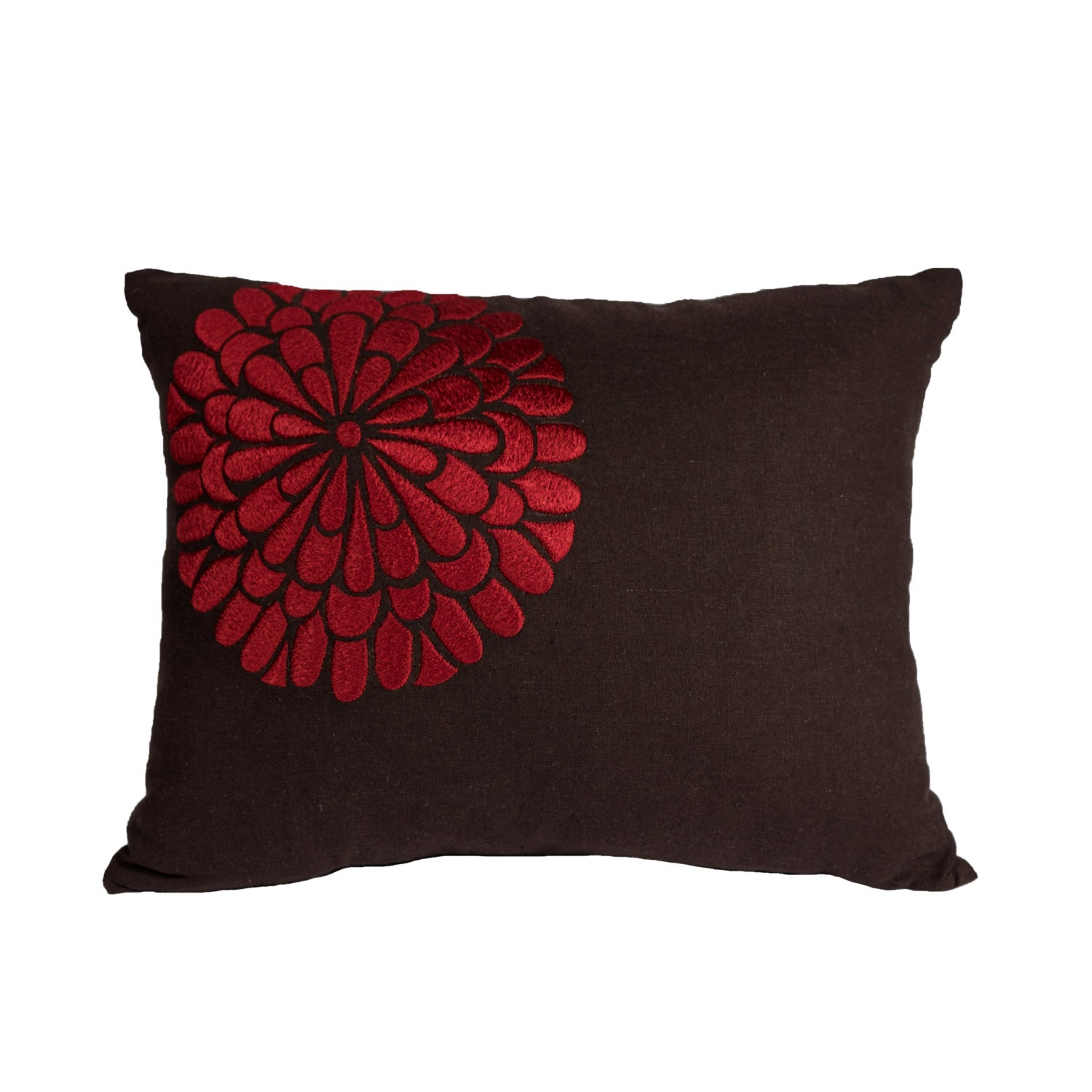 Decorative Floral Pillow Covers : Floral Lumbar Pillow Cover Decorative Pillow Dark Brown