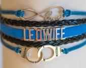 Law Enforcement Officer LEO Police wife blue line Handmade Infinity Bracelet