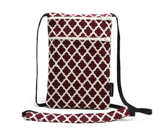 Small travel neck wallet, Passport Holder, Small sling bag, Travel Accessory, Zipper Pouch, Phone Purse - Quatrefoil Dark Red and White