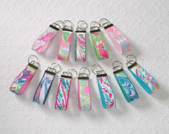 Preppy Lilly Colorful Fabric Key Chain Keyring One Dozen 12pcs