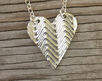 Handmade pendant fine silver 3/4 inch textured heart  layering necklace-girlfriend gift ready to ship jewelry Valentines day gift