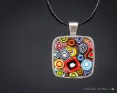 Colorful Geometeric Necklace Millefiori Mosaic - Wearable Art