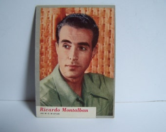 Vintage Trading Card ,  Who-Z-AT Star Card # 34 Ricardo Montalban Mint Condition MGM Star Lobby Cards RARE