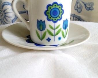 Mid- Mod Floral Demitasse / Coffee Set. Blue and Green 12 piece set Retro Kitchen