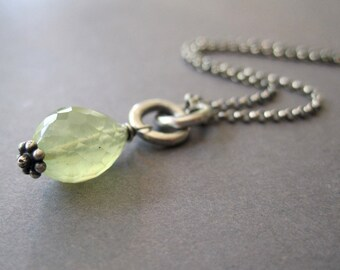Prehnite Necklace, Prehnite Pendant, Mint Green Sterling Silver Necklace, Gift for Her