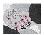 ON SALE Abstract Wall Art for Girls - Textured Flower Painting on Canvas Pink and Gray - Small 24x20