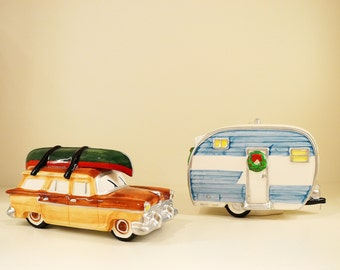 Snow Village Dept. 56 On The Road Again Car & Travel Trailer- Vintage 50s Mid Century Look Christmas Gift Idea