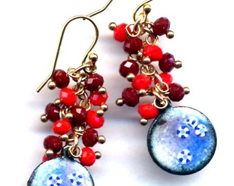 Unique Enamel Earrings, 18 K Gold Filled Ear Wire Earrings, Ped Blue Earrings, Floral Earrings, Handmade by annaart72
