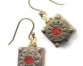 SALE Nepal Earrings,Tibet Coral Earrings, Nepal Beads on 18K Gold Filled Wire, Ethnic Earrings, Nepal Jewelry by AnnaArt72