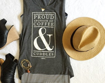 Coffee & Cuddles Women's Graphic muscle tank