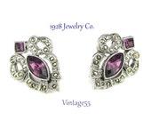 Earrings Purple Rhinestone Faux Marcasite 1928 Jewelry Co.