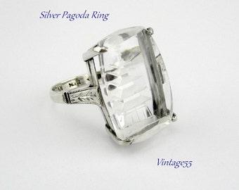 Ring Silver Ingalio Pagoda Japan 1940