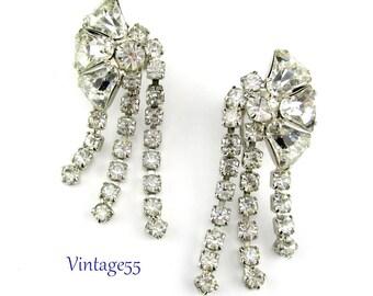 Earrings Rhinestone Clear Silver tone screw back
