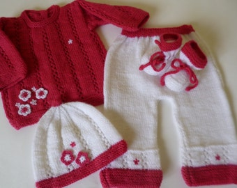 Newborn Outfit, Coming  Home Set, Baby Shower Gift, Take Home Suit, Knitted Baby Suit,  FREE Headband