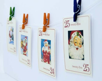 Santa Claus Vintage Retro Style Flashcards, Countdown Number Flash Cards
