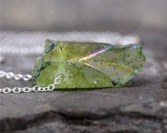 Green Aura Quartz Pendant - Quartz Necklace - Modern Minimalist Jewellery - Sterling Silver - Rustic Green Gemstone - Green Quartz Point