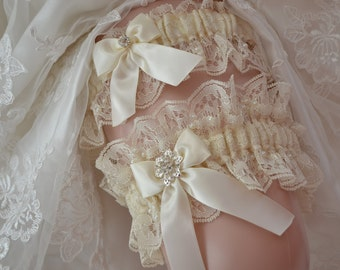 Ivory Lace Garter, Wedding Garter Set ,Bridal garter set,Ivory Lace Garter Belt