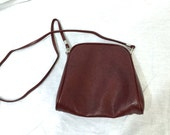 Vintage Maroon Small Crossbody Purse. 1980s. Small Purses. Dark Red. Oxblood. Faux Leather. Under 15 Purses. Everyday Purse.