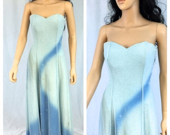 Vintage Strapless Gown. Maxi Dress. Light Blue. Ice Queen. Small. Wedding. Evening. Formal. Prom. Under 30 Dresses. 1990s. Fancy. Snow.