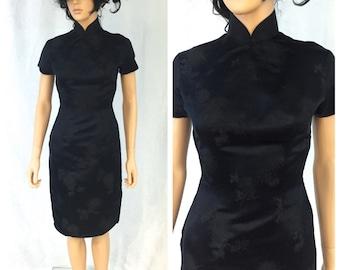 Vintage Black Kimono Dress. Floral. Rayon. Little Black Dress. 1960s. XXSmall. Traditional. Formal. Evening. Short Sleeve. Small. Under 60