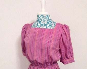 50% off storewide SALE Vintage 1980's dress // striped purple pink aqua // 1980's puff sleeve