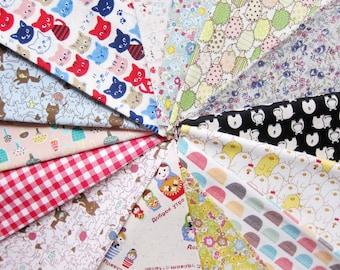 """150g Cotton Fabric Scrap Bundle - Japanese Cotton / Linen Fabric Mix Bundle  - Japanese Fabric - at least 25 pieces 5"""" to 8"""" squares"""