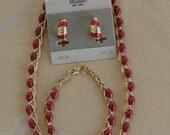"On sale Pretty Vintage Red Glass Beaded Necklace, Bracelet, Clip Earring Set, Gold tone, Demi Parure, Jewelry Set,""Monet"" (L8)"