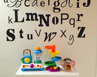 Abc's Decal - Nursery Alphabet - Crazy Fonts - Letters - Alphabet decals for childs room or preschool  - ABC stickers decals room decor
