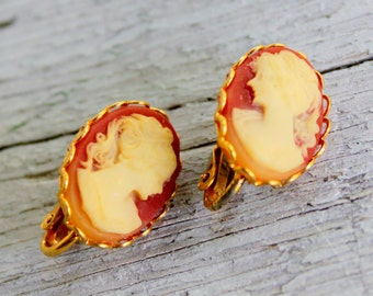 Cameo Earrings Clip on Style Victorian Revival Vintage 1970s