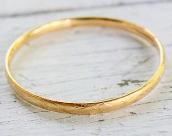 ANTIQUE Gold Bracelet Bangle Etched Signed