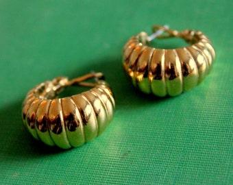 Vintage Napier Earrings Hoop Gold Tone