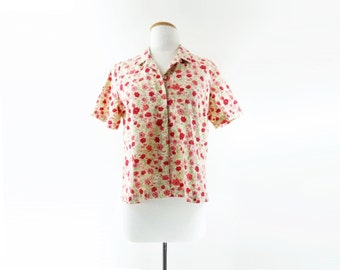 60s Vintage Blouse, Red Floral Blouse, 1960s Calico Blouse, Button Down Shirt, Coral Flower Print, 60s Summer Shirt, Short Sleeve Blouse, m