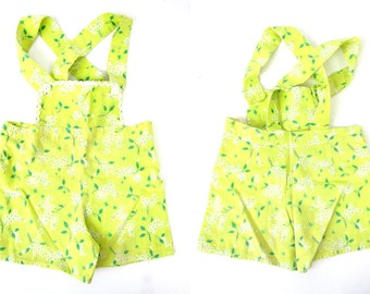 Yellow green Vintage Child's Swimming Suit One Piece Cotton Bibs Play Suit Playsuit Yellow Flower Print 1950s Handmade floral Swimsuit Swim