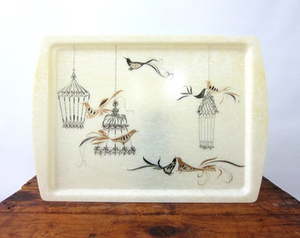 Retro Plastic Mid Century Tray Serving Black and Gold Birds Birdcages TV Lap Tray Plant Plate