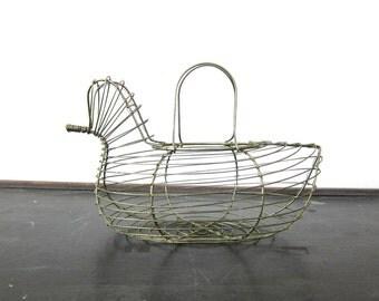 Vintage Wire Chicken Basket Hen Egg Basket Metal Cage Folk Art Kitchen Decor Dell's
