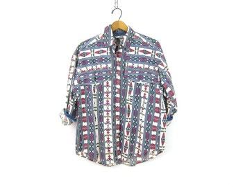 Vintage southwestern Cotton shirt button up Pink Blue Tribal shirt geometric pattern shirt womens Cowgirl Western Shirt Size Medium