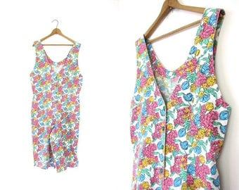 Retro 80s Floral Romper Spring Garden Jumpsuit Boho Bibs Jumper Button Up 1980s Once Piece Tank & Shorts Revival Pink White Yellow Medium