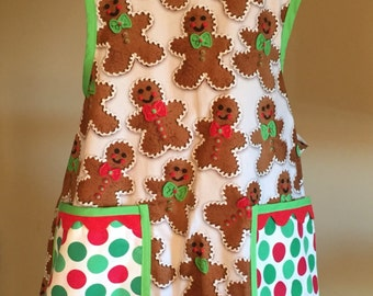 Adult Lucy Christmas Apron With Gingerbread Men on White Background