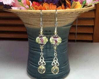 Floral Earrings Rondelle Bead Earrings Flower Earrings Lampwork Earrings Artisan Earrings Beaded Earrings Citrine Earrings Dangle Earrings