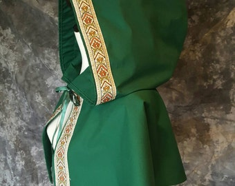 Forest Green Hooded Caplet With Embroidered Trim,  Renaissance Costume, Medieval, Fantasy, Elf, Robin Hood, Period Garb, SCA LARP