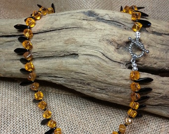 Amber and black necklace