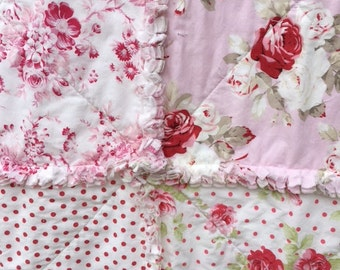 Shabby Rag Quilt with Sweet Pink Roses Lap Picnic Blanket  Size 48 inches square Baby Crib Girly Dots Red
