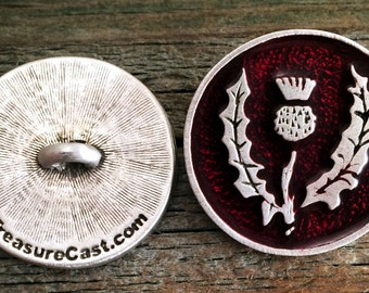 Scottish Thistle Pewter Buttons | Scottish Buttons | Scotland Button | Metal Shank Button | 1 Inch (25 mm) | by Treasure Cast Pewte