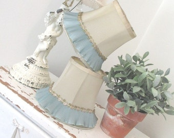 Vintage Lampshades * Pair * Shabby Chic * Millinery Trim * Boudoir * Nursery * Lamp Shades