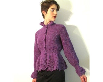 BASIA DESIGNS Lilac Tweed Hand Knit Ruffle edged shapely cardigan - Free Shipping
