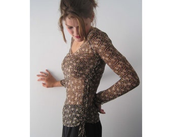 Vintage Brown floral silk top from BASIA DESIGNS Private Collection - Free U.S. Shipping