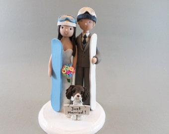 Cake Topper - Personalized Snowboard Theme Wedding